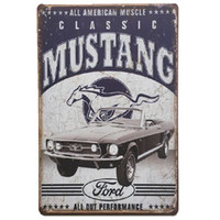 Wholesale classic home paintings for sale - Group buy Classic Mustang Ford Retro rustic tin metal sign Wall Decor Vintage Tin Poster Cafe Shop Bar home decor