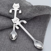 Wholesale Stainless Steel Long Spoon - Stainless Steel Scoops Sturdy Humanized Streamline Design Coffee Tea Spoons With Long Handle Cat Spoon Popular 3 5sh B