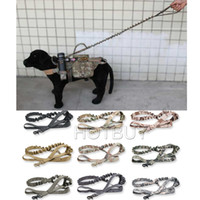 Wholesale Paintball Padded - Tactical Hunting Dog Leash with Dual Handle Airsoftsports paintball gear Law enforcement Dog Training Accessories 9 colors #4043