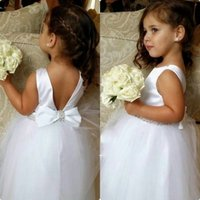 Wholesale handmade vests - Handmade Girls Dress For Wedding White Beaded Flower Dresses Jewel Neckline Floor Length Lovely Princess Girls Pageant Gown Party Gowns