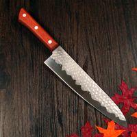 "Wholesale Steel Chefs Knives - GRANDSHARP 8"" inch German steel chef knife Japanese Imitational Damascus steel kitchen knife sharp Damascus knife Pakka handle"