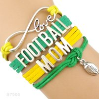 Wholesale Wholesale Leather Footballs - Football Mom Football Charm Pendant Rugby Charm Wrap Infinity Love Bracelets Sports Jewelry Leather Wax Unisex