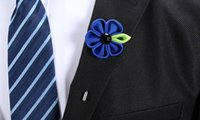 Wholesale Dress Handmade China - Handmade Ribbon Sunflower Suit Brooches Exquisite Lapel Pin Man Woman Boutonniere Stick Brooch Pins Fancy Dress Party Brooch Pin