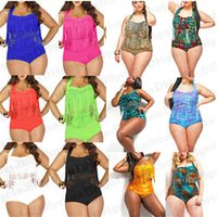 Wholesale Woman Fat Suits - Plus Size Tassel bikini Retro High-waist Bikini for fat women bathing suit Push up Bikini Padded Push up High Waist Swimsuit DHL fre D423 10