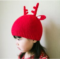 Wholesale crochet hat horns resale online - Hot Baby Hat Girl boy Toddler Knitted Hat Character Style Infant Kids Crochet Caps Christmas Elk Horn warm Autumn Winter Hat