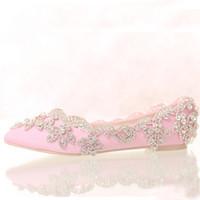 champagner prom fersen großhandel-Champagne Satin Brauthochzeitskleid Schuhe Flache Ferse Spitz Formale Kleid Schuhe Lady Party Prom Tanzschuhe Strass Wohnungen