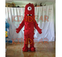 Wholesale Muno Adult Costume - Wholesale-Yo Gabba Gabba Muno Mascot Costume Adult Fancy Dress Cartoon Party carnival Outfits Free Shipping