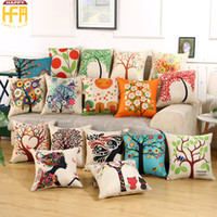 Wholesale Pillow Patterns - 45*45Cm Sofa Cushions Cushion Cover Pillow Cases Living Room Office Linen Pillow Covers Backrest Cartoon Pattern Gifts Home Decoration