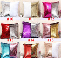 Wholesale BIG PROMOTION Mermaid sequins Pillow cases DIY Two Tone Glitter Sequins Pillow Case Covers Magic Reversible Pillowslip Sofa colors