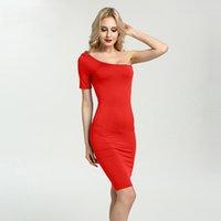 şirin kısa bir omuz elbiseleri toptan satış-Sıcak Satış Tek Omuz Yaz Elbise Kadınlar Sevimli Plaj Elbise Moda Parti Elbiseler Kısa Kollu Marka Giyim