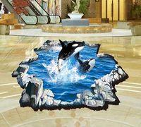Wholesale 3d Ocean - Large Size 3D Dolphin Ocean Wall Sticker Decal Art Decor DIY Home Decor Room Window Door Mural