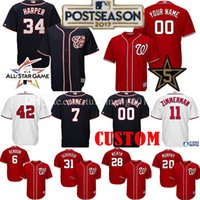 Wholesale National Customs - Custom Washington Nationals 2017 Postseason 34 Bryce Harper Baseball Jerseys 7 Trea Turner 31 Max Scherzer Zimmerman All Star Jersey