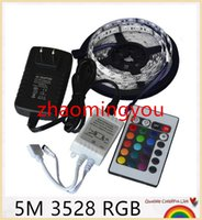 Wholesale Rgb Led 3528 Controller - RGB led strip 3528 2835 flexible strip light waterproof 5M 300led+24key IR remote controller+DC12V power adapter EU US AU UK