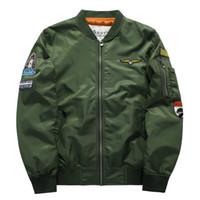 Wholesale Collar Stand Design - Plus Size 4XL 5XL Men Bomber Jacket 2016 Air Force One Hip Hop Patch Designs Slim Fit Pilot Bomber Jacket Coat Men Jackets