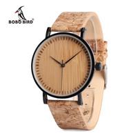 Wholesale Unique Watches For Ladies - BOBO BIRD Wooden Dial Watches Cork Strap Unique Wood Watch Ladies Wristwatch for Men and Women relogio feminino C-E19