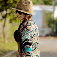 Wholesale Hat Womens - Essential 2016 New Summer Autumn Fashion Womens Straw Hat Color Striped Beach Sun Hat Foldable Hat