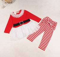 Wholesale Santa Outfits For Girls - Christmas Santa Claus Tulle Girl Dress Stripes Legging for Girls Xmas 2pcs Set Outfits long sleeve Dress Leisure Outfit Suit