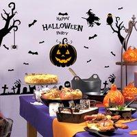 appliques murales pour enfants achat en gros de-Autocollants muraux du diable de Halloween Salon de la citrouille Lampe de verre imprimé de vitre décoration de jardin maternelle Autocollants muraux pour enfants