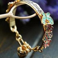 mariposa de oro jade al por mayor-Diamond Gold Cuff Pulseras Love Flower Crystal Butterfly Gold Heart Color de la flor Crystal Butterfly Pulsera Brazalete Pulsera DHL
