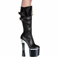 "Wholesale Goth Heels - Customize New Arrival Extreme High Heel 18cm Heel Boots 7""Fetish Goth Bdsm Dominatrix Gloss Knee High Buckle Strap Motorcycle Boots D0143"