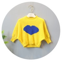 Wholesale Wholesale Heart Jumpers - New 2017 Cute Autumn Girls Sweaters Tops Knitting Pullover Long Sleeve Love Heart Pattern Sweater Knit Top For 1-5Y Girl Yellow Pink A7542