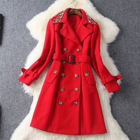Wholesale Europe Trench - Europe and the United States 2016 Winter new Diamond double breasted collar Monochrome slim Trench coat