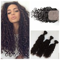 Wholesale unprocessed mongolian water wave closure for sale - Group buy Peruvian Virgin Hair Weave With Silk Base Closure Unprocessed Human Hair Natural Black Peruvian Water Wave Hair Extensions G EASY