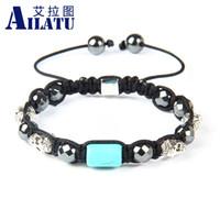 Wholesale Shamballa Pieces - hamballa bracelet Ailatu 10 Pieces Exquisite Skull Shamballa Bracelet Hematite and Artificial Simulated Blue Stone Men's Classic Style Je...