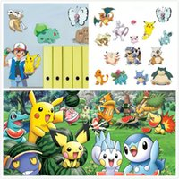 Wholesale Large Lighted Wall Mirror - 2 Styles Cartoon Poke Wall Stickers for Kids Rooms Home Decorations Pikachu Wall Decal Amination Poster Wall Art Wallpaper Kids