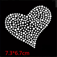 Wholesale Heart Motifs - 2017 New Bling Love Heart Pattern rhinestone transfer motifs hotfix rhinestone iron on the transfer