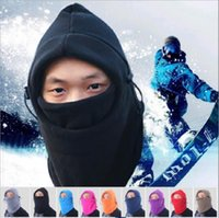 Wholesale Balaclava Fleece Neck - 12 Color winter warm Fleece beanies hats for men skull bandana neck warmer balaclava ski snowboard face mask Thickening YYA556