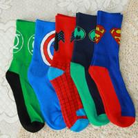 Wholesale Knitting Combs - New design Combed Cotton Men's socks Spiderman Captain America Superhero Green Lantern Street Tide Skateboard Socks For Man