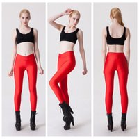Wholesale High Waist Leggings Tights - V-Shaped Yoga Pants Luster Candy Colors Trousers Workout Breathable Bodybuilding Sports Leggings Tight High Waist Slim Woman Red LNSLgs