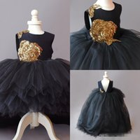 Wholesale Wedding Cupcakes Pictures - Cupcake Gold Sequins Flower Girl Dresses Tulle Long Hi-Lo Ball Gowns Black Tulle First Communion Dresses for Girls Kids Pageant 2017 Toddler