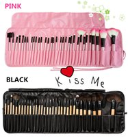 Wholesale Makeup Brushes 32 Set Pro - 32 PCS pro makeup brush set Nude Makeup Brush Set beauty makeup tools Facial beauty set with 2 color bags