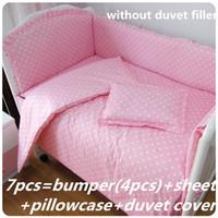 Wholesale 7pcs bedding set resale online - Promotion Baby Crib Bedding Set for Girls Cartoon Newborn Duvet Cover Baby Bed Linen cm