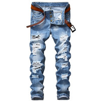 ingrosso jeans a mosca per bottoni per uomini-Pantaloni jeans strappati da uomo autunno designer Slim Fit Pantaloni jeans blu chiaro Pantaloni distrutti distrutti da uomo Pantaloni con moschettone