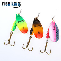 Wholesale Fishing Lures Spinner - FISH KING 1PC Size0-Size5 Fishing Lure pesca Mepps Spinner bait Spoon Lures With Mustad Treble Hooks Peche Jig Anzuelos