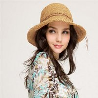 Wholesale Ladies Foldable Travel Hat - Wholesale- 2017 Queen Hat Summer Women's Foldable Large Brim Beach Sun Hat Straw Beach Cap For Ladies Elegant Vacation Travel Hats