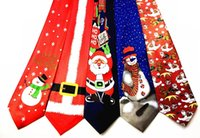 Wholesale Polyester Christmas Necktie - New Boy Christmas Tie Printing Santa Claus Reindeer Flowerflake Necktie Polyester Knit Green Free Size Holiday Christmas Gift Ties A7278