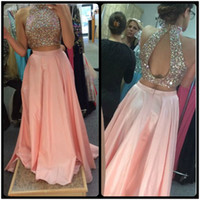 Wholesale Unique Peach Prom - 2 Piece Prom Dress 2017 Unique Design High Neck Beaded Crystals Peach Pink Satin Evening Formal Party Gowns Long Homecoming Dresses