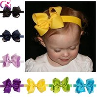 Wholesale Headband Baby Handmade Elastic - Fashion Handmade Solid Bow Headband For Baby Girls Toddler Boutique Elastic Hairband Hair Accessories Headwear