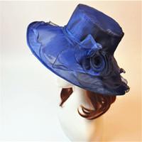 Wholesale Wide Brim Tea Hats - Lady Women Church Derby Hat Wide Brim Cap Wedding Dress Tea Party Floral Bridal