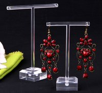 Wholesale Glass Jewelry Showcase - Free Shipping 10Sets Band Clear Organic Glass Earring Display Stand,New Showcase Counter Table Fashion Jewelry Display
