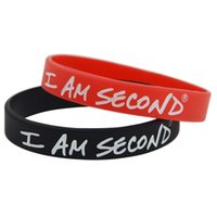 Wholesale First Silicone - 50pcs lot I Am Second Live For Jesus & Others First Silicone Wristband Bracelet