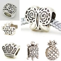 Wholesale Diy Crown Charm - 200pcs lot Crown Pineapple Tortoise Big Hole Charm Beads DIY Silver Plated Jewelry Accessories Necklace Bracelet European Bead Original Gift