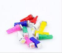 Wholesale T5 Led Auto Bulbs - 100pcs lot Car Auto LED T5 1 led smd 5050 Wedge LED Light Bulb Lamp 1SMD White Green Blue Red Yellow Free shipping