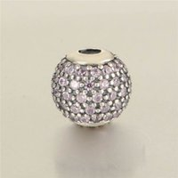 encantos da essência venda por atacado-New Authentic 925 Sterling Silver Pink Cristal Pave Cuidados Essência Charme Beads Só Se Encaixam Mulheres Essência Charme Pulseiras DIY Jóias HE5