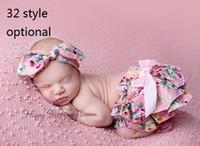 Wholesale Pp Skirt Headband - 15% off! Newborn Baby Ruffle PP Shorts Pants headband Baby cotton Panties bowknot Bloomers Skirt Briefs Diaper Cover Dress 63 style 5 sets