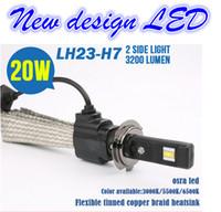 Wholesale Led Fan Car - 2 PCS 12V 20W H7 LED Lamp 6500K CREE 3200LM Waterproof car light source headlight FOG Lamp Bulb with cooling belt no fan